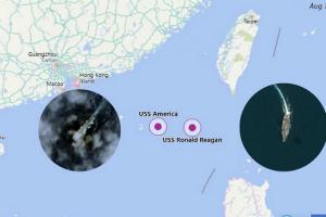 """【南海局势最新动态】美国""""里根""""号航母重返南海 两栖攻击舰疑似同时现身"""